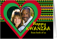 Custom Kwanzaa from Both of Us, Add Your Photo, Heart Frame card