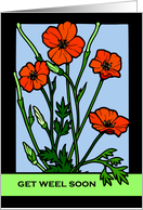 Get Weel Soon, Get Well Soon in Scots, Red Poppy Flowers card