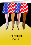 Invitation for Patriotic Flag Day Themed Party, Dancing Women card