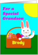 Easter for a Grandson, Cute Bunny in Basket of Eggs, Add a Name card