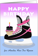 Custom Front, Birthday for Female Ice Hockey Player, Add a Name card