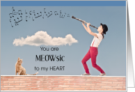 Thank You, Meowsic to my Heart, Cat and Clarinet card