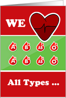 Thank You Blood Donor, We Love All Types Illustration card