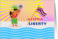 Hawaiian Independence Day, Hula Dancer with Torch card