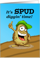 Potato Harvest, Spud Diggin' Time, Cute Potato card