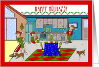 Happy Holidays From Cleaning Service, Cute Housekeeping Scene card