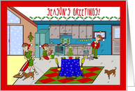Season's Greetings From Cleaning Service, Housekeeping Scene card