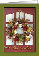 Announcement Our First Home, Floral Wreath On Door card