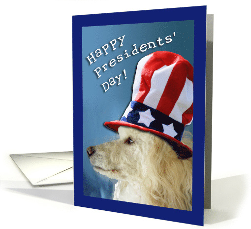 Patriotic Poodle for Presidents' Day, Uncle Sam Hat card (561235)