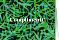 Congratulations in Italian, Complimenti, Abstract Fabric Design card