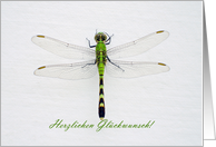 Green Dragonfly, Congratulations in German card