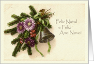 Vintage Christmas in Portuguese, Greens and Bell card