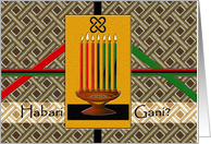 Kwanzaa in Swahili, Kinara Candles, African Textile, and Unity Symbol card