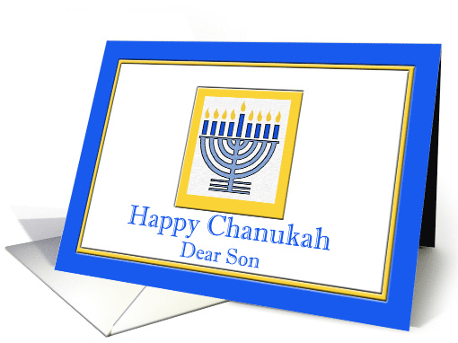 Chanukah for Son with Menorah in Blue and Yellow card (726012)