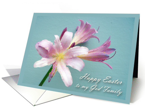 Religious Easter Message for God Family, Resurrection Lily card