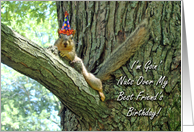Best Friend's Birthday Greeting Card, Funny Squirrel With Hat card