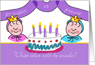 Gender Reveal Party Invitation, Cake With Question Mark card