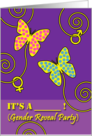 Baby Gender Reveal Party Invitation, Butterflies card