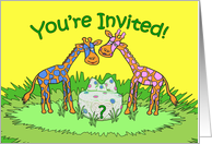 Baby Gender Reveal Party Invitation, Giraffes card