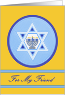 Hanukkah Wishes for Friend, Menorah and Star of David card