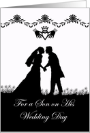 Wedding Congratulations for Son, Irish Wedding Couple in Silhouette card