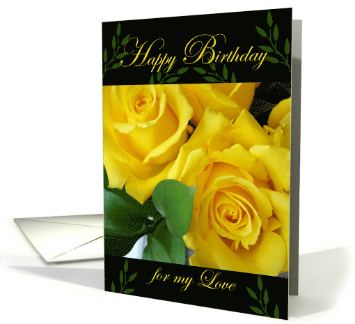 Birthday for Wife, Yellow Roses card (872681)