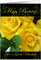 Birthday for Volunteer, Yellow Roses card