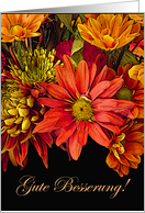 Get Well Soon in German, Autumn Flower Arrangement card