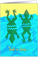 Leap Year Day Holiday, Leaping Rain Frogs and Water card