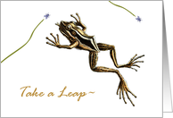 Leap Year Day Holiday, Vintage Leaping Frog card