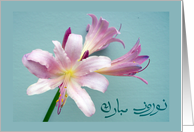 Persian New Year, Happy Norooz in Farsi, Spring Lily card