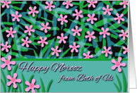 Happy Norooz From Both of Us, Persian New Year Flowers in Pink card
