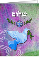 Shalom in Hebrew for Pesach, Peace Dove With Olive Branch card