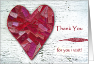 Thank You for Visiting Me in the Hospital, Stitched Heart card