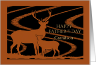 Father's Day for Grandson, Deer in a Field card