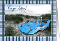 Congratulations on New Car, Old Dune Buggy on Beach card