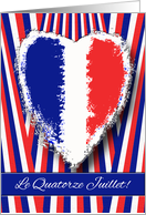 Bastille Day in French, Le Quatorze Juillet, Heart and Stripes card