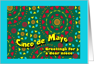 Cinco de Mayo for Niece, Bright Colorful Mexican Inspired Design card