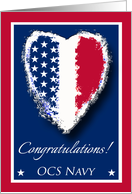 Congratulations on Graduating OCS Navy, Patriotic Heart card
