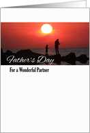 Father's Day for Partner, Fishing at Sunset card