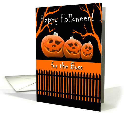 Funny Halloween for Boss, Jack o' Lanterns in a Row card (943292)