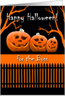 Funny Halloween for Boss, Jack o' Lanterns in a Row card