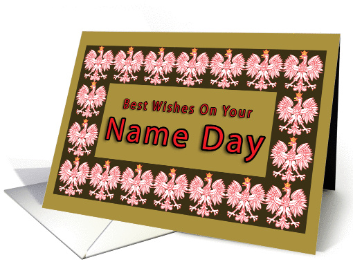 Name Day with Red Polish Eagle card (243202)