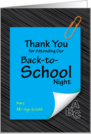 thank you for attending our back-to-school night, note pad card