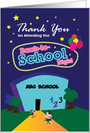 thank you for attending our back-to-school night, school card