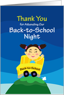 Thank You for Attending Our Back-to-School night, Girl goes to School card