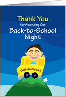 Thank You for Attending Our Back-to-School Night, boy goes to school card