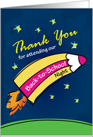 thank you for attending our back-to-school night, color pencil rocket card