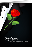 will you be my best man, red rose, boutonniere, cousin card