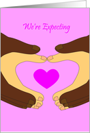 Pregnancy Expecting Announcement, Interracial Couple card